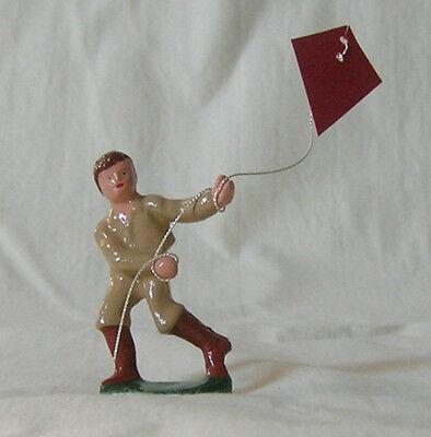 Boy Running & Flying Kite, Standard Gauge train layout figure, New/Reproduction