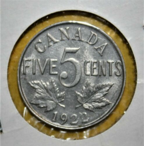 Canada 5 Cents 1922 Extremely Fine + Coin - King George VI