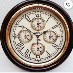 Vintage style Wall Clock World Time Antique Brass Wood Clock