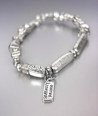 INSPIRATIONAL Silver Bible Verse Scripture SERENITY PRAYER Charm Bracelet