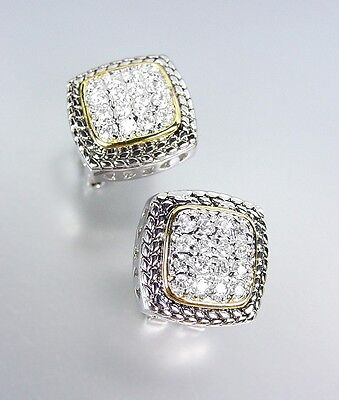 Designer Style Balinese Silver Wheat Gold Pave CZ Crystals Square Post (Crystal Post Style Earrings)