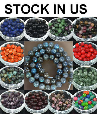Wholesale Lot Natural Stone Gemstone Round Spacer Loose Beads 4MM 6MM 8MM 10MM - Multi Color Beads