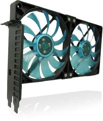 Gelid Solutions PCI Slot Fan Holder VGA Cooler, Two Slim 120mm UV Blue Fans