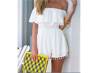 Women's White Bardot Playsuit