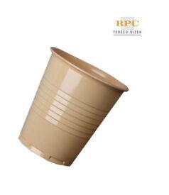 2000 x TEDECO Mocha Disposable Vending Plastic Cups