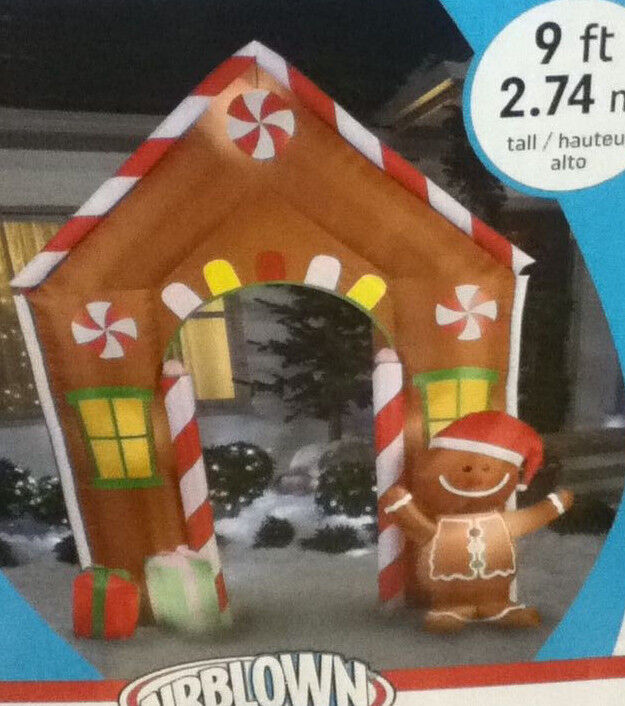 Christmas Santa Gingerbread Man Archway Arch House 9 Ft Airblown Inflatable