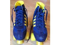 Blue Yellow Retro Look Quad Wheel Roller Skate Boots size 5