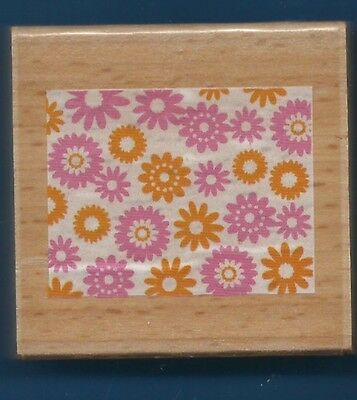 FLOWER DAISY BACKGROUND medium DARICE NEW Wood Mount craft hobby RUBBER - Medium Desktop Mount