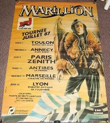 MARILLION STUNNING RARE X 6 DATE FRENCH TOUR POSTER 'TOURNEE JUILLET' IN 1987