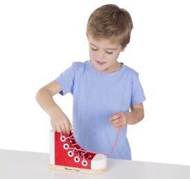 Melissa & Doug Deluxe Wooden Shoe for learning to tie laces