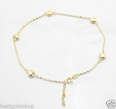 Adjustable Singapore Chain Puffed Heart Ankle Bracelet Anklet 14K Yellow Gold