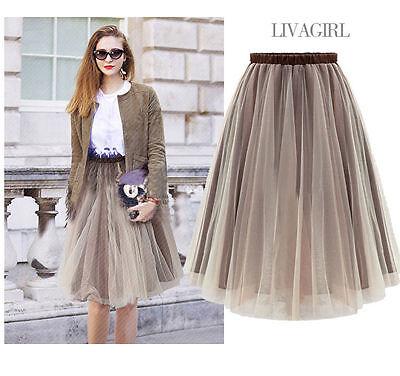 Fashion Women Teen  Delicate Brown Knee Length Adult Tulle Tutu Skirt Dress  #U1