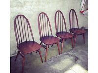4 x vintage 1960s Ercol Windsor spindle back chairs mid century retro
