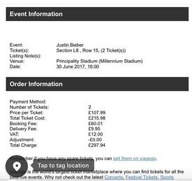 Justin Bieber Cardiff Tickets X 2 Friday 30th June (best Seats) L8 Row 15