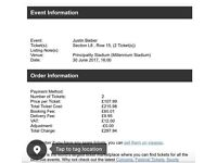 Justin Bieber Cardiff Tickets X 2 Friday 30th June (best Seats) L8 Row 15