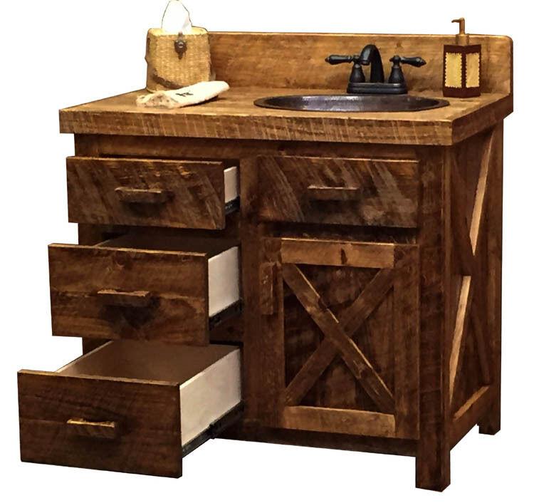 Custom Rustic Ranch Circle Sawn Barn Wood Cabin Lodge Bathroom Vanity 30-72 INCH