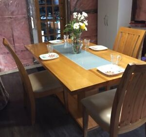 Large 6 seater solid maple harvest table