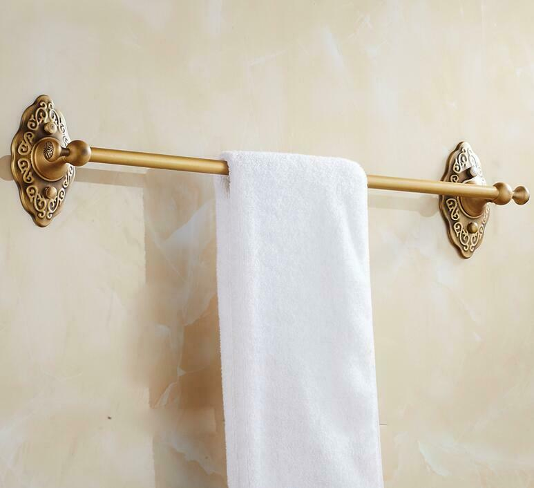 Bathroom Single Towel Bar Wall Mounted Antique Brass Towel Rail 16inch In length