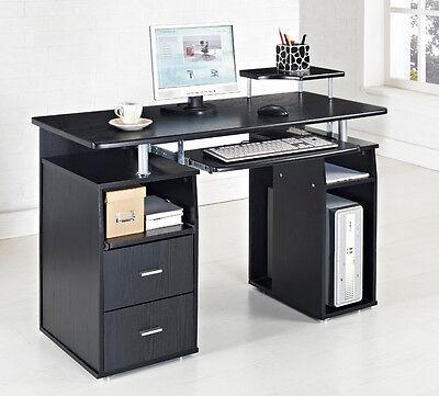 Black Computer Desk Home Office Table PC Furniture Work Station Laptop