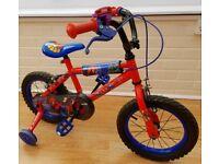 "Halfords Spiderman Kids Boys Bike / Bicycle - 14"" Inch Wheels, Calliper Brakes, Stabilisers"
