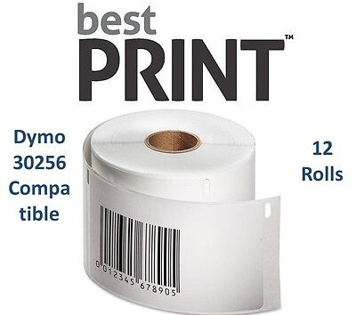 12 Rolls Of 300 Labels 2 516 X 4 For Dymo Labelwriter 30256 Compatible