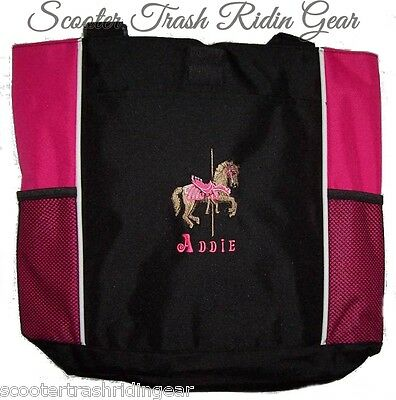 Carousel Horse Pink Tote Diaper Baby Bag PERSONALIZED monogrammed merry go round (Personalized Baby Girl Diaper Bags)