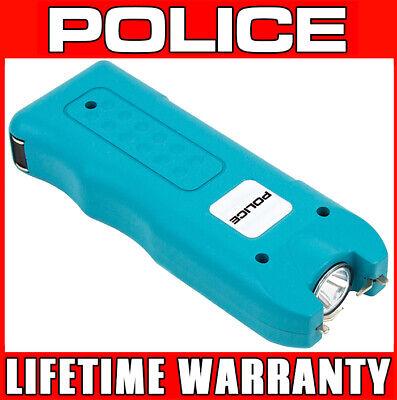 Police Stun Gun 628 550 Bv Rechargeable Led Flashlight Siren Alarm Blue