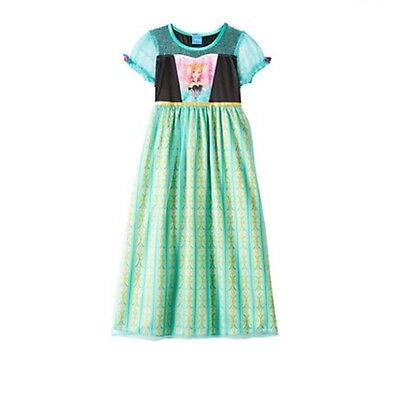 Disney's Frozen Fever Princess Anna Dress Pj Pajama Nightgown Girl Size 4 6 8 - Princess Night Gown