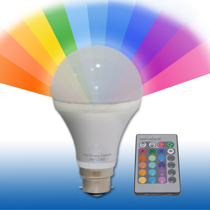 Remote Controlled Colour Changing Light Bulb 5w Led Energy Saving Bc B22 Gls New