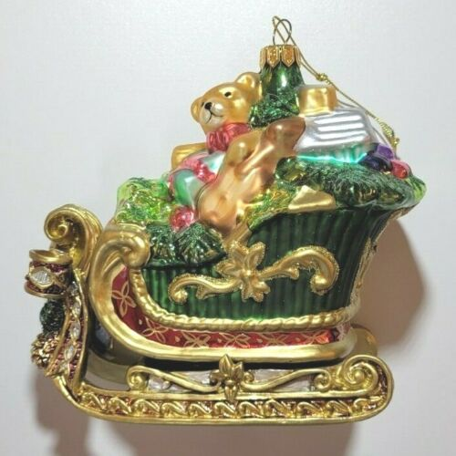 FITZ AND FLOYD  Blown Glass Florentine Christmas Sleigh With Toy Bag Ornament