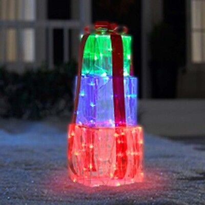 NEW Gemmy Christmas Ice Sculpture Gift Boxes Lawn Decoration Blinking Lights ()