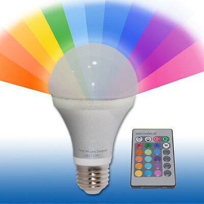 ES27 GLS Edison Screw Light Bulb Remote Controlled Colour Changing 5W LED New