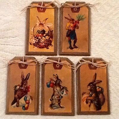 5 Wooden PRIM EASTER BUNNY Ornaments, Prim Rabbit Hang Tags/Gift Tags SET92 - Bunny Ornaments