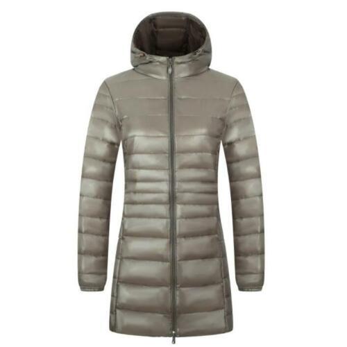 Women Down Coat Ultralight Packable Hoodie Jacket long slim fit Outwear Parka