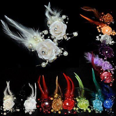 e Perlen Straß Federn Haarschmuck Braut Hochzeit viele Farben (Blume Clip)