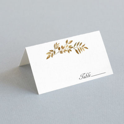 Place Cards For Wedding (25 Gold Leaves Place Cards - Wedding Escort Cards - Folded Seating)