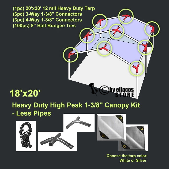 18'x20' Heavy Duty 1-3/8'' High Peak Carport Canopy Kit *PIP