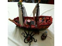 Playmobil pirate ship with fishing boat and giant octopus