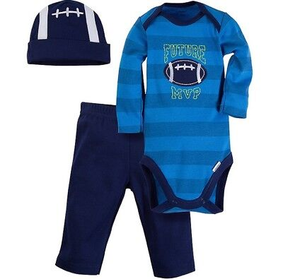 GERBER BABY BOYS 3-Piece Essentials Set Onesie, Pants & Cap Baby Shower Gift NWT Boys Sports Pant Set