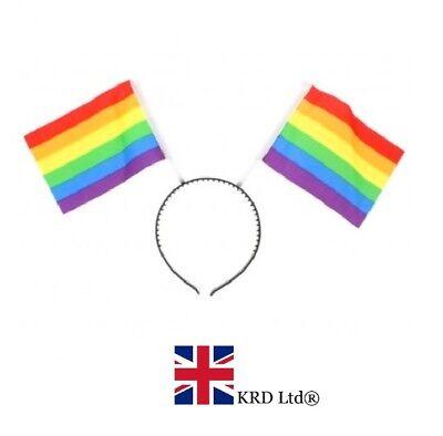 RAINBOW FLAG HEAD BOPPER HEADBAND Pride Gay LGBT Unisex Fancy Dress Costume UK
