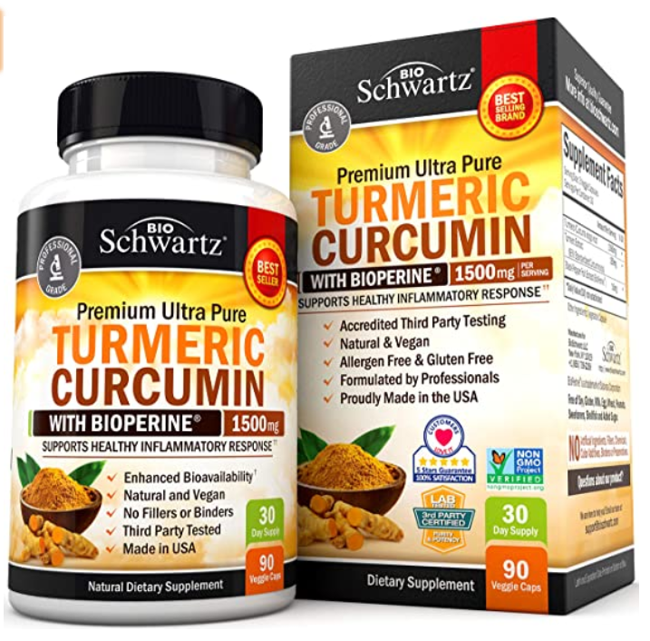 Turmeric Curcumin with BioPerine 1500mg. Highest Potency Ava