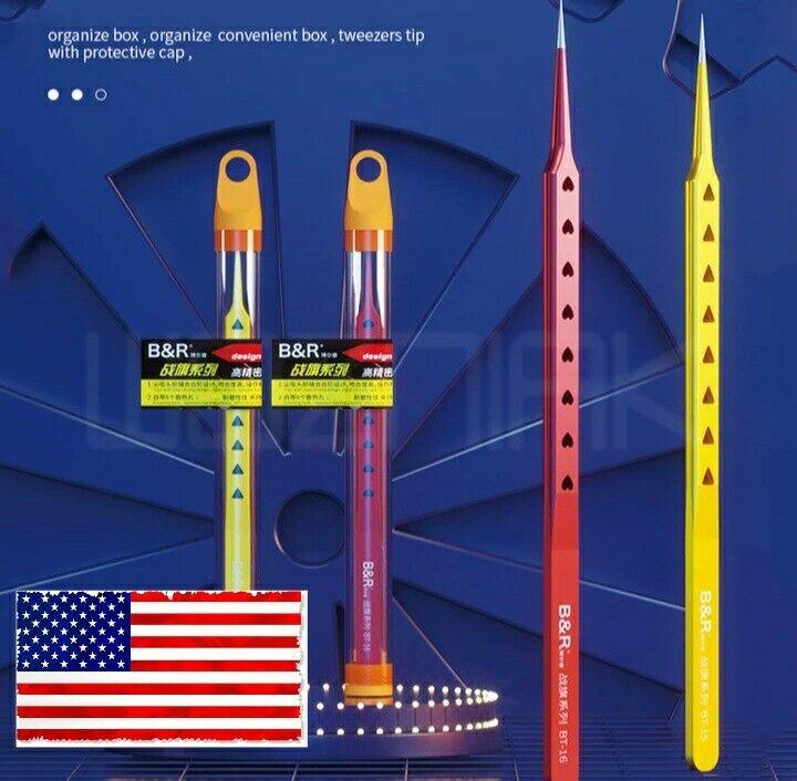 Top Precision Tweezers Heatdispersing B&R, BT-15, BT-16, PCB BGA, jewelry repair