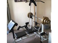 Weight bench and 120kg weights
