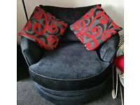 Red And Black Sofa With Swivel Snuggle Chair