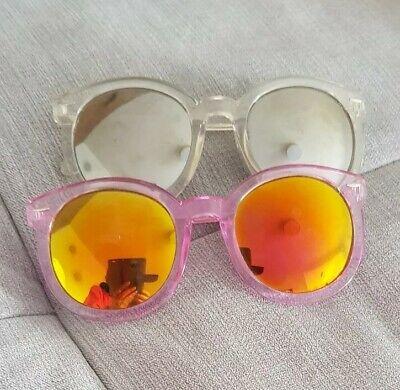 2 Damen Sonnenbrillen Round Nerd Rund Rosagold Gold Weiß Verspiegelt Blogger😎 ()