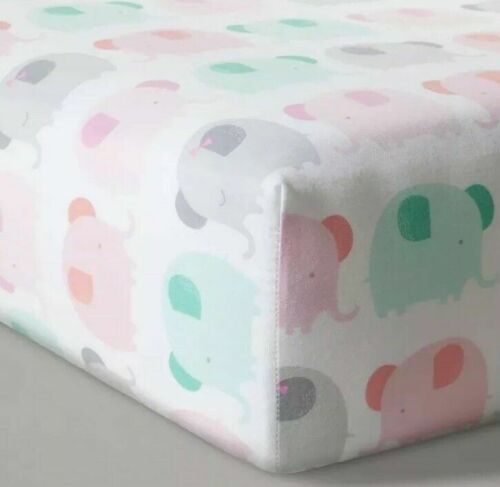 Cloud Island Fitted Crib Sheet 100% Cotton Multi Color Elephant  NWT