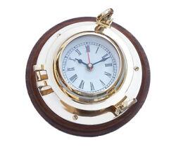 Ship's Porthole Clock Solid Brass 10 w/ Wood Base Nautical Hanging Wall Decor