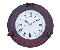 Ship's Cabin Porthole Clock Copper Finish 12 Aluminum Hanging Wall Decor New