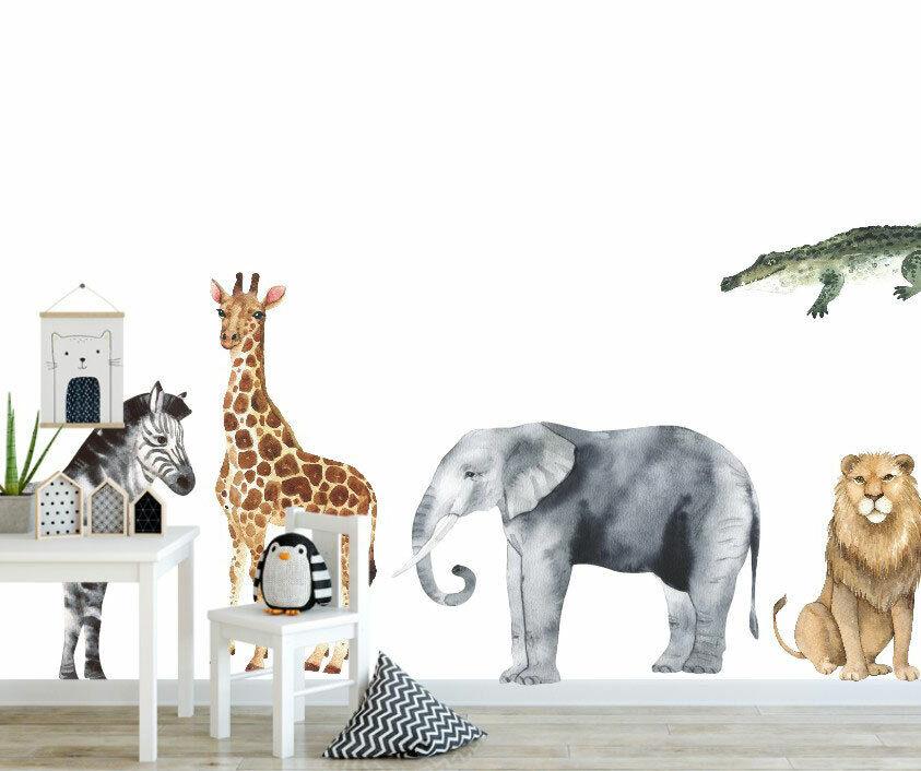 Set of 8 Pcs Safari Animals Wall Sticker Baby Nursery Decor Decal Art Mural Gift