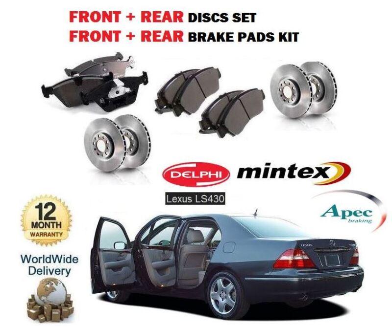 FOR LEXUS  LS430 3UZ-FE 2000-2006 FRONT + REAR BRAKE DISCS SET + DISC PADS KIT